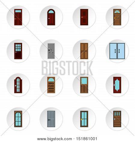 Door icons set. Flat illustration of 16 door vector icons for web