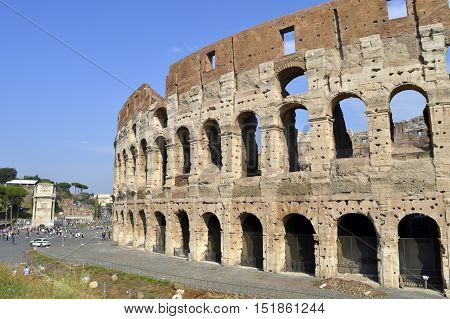 Rome Italy - September 11 2016 The historical Roman Colosseum Amphitheatre in Rome