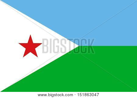 Djiboutian national official flag. Patriotic symbol banner element background. Accurate dimensions. Flag of Djibouti in correct size and colors vector illustration