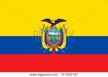 Ecuadorian national official flag. Patriotic symbol banner element background. Accurate dimensions. Flag of Ecuador in correct size and colors vector illustration