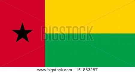 Bissau-Guinean national official flag. African patriotic symbol banner element background. Accurate dimensions. Flag of Guinea-Bissau in correct size and colors vector illustration