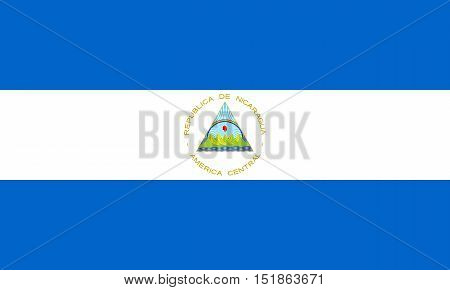 Nicaraguan national official flag. Patriotic symbol banner element background. Accurate dimensions. Flag of Nicaragua in correct size and colors vector illustration