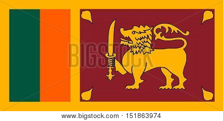 Sri Lankan national official flag. Patriotic symbol banner element background. Accurate dimensions. Flag of Sri Lanka in correct size and colors vector illustration
