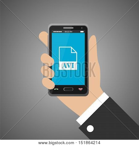 Hand holding smartphone with avi icon on gray background