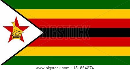 Zimbabwean national official flag. African patriotic symbol banner element background. Accurate dimensions. Flag of Zimbabwe in correct size and colors vector illustration