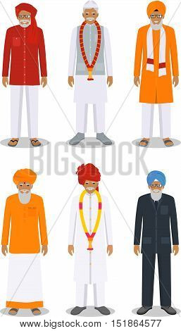 Detailed illustration of different standing indian old men in the traditional national indian clothing isolated on white background in flat style.