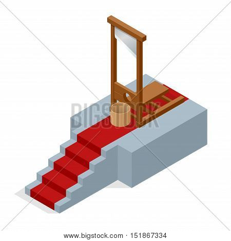 Isometric Guillotine vector Illustration. Ceremonial red carpet directing to a guillotine.