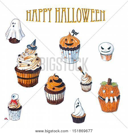 Backgrooud with set of Halloween Cupcake Hand Drawn sketches