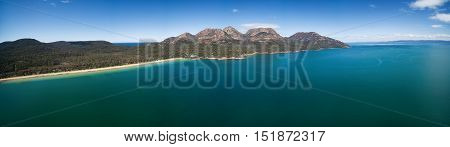 The Hazards Mountain Range And Coles Bay, Tasmania.