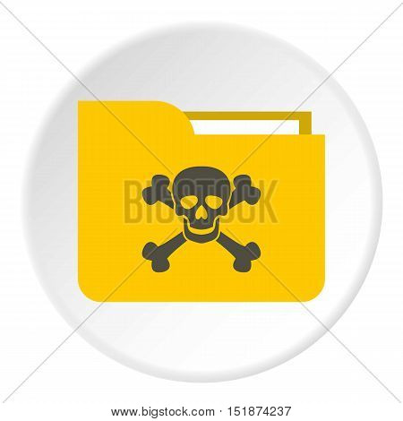 Virus in e-mail icon. Flat illustration of virus in e-mail vector icon for web