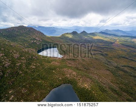 Aerial View Of Lake Osborne And Lake Perry In Hartz Mountains National Park. Tasmania