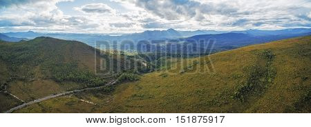 Aerial Panorama Of Mountains And Green Hills Along Gordon River Road, Florentine, Tasmania