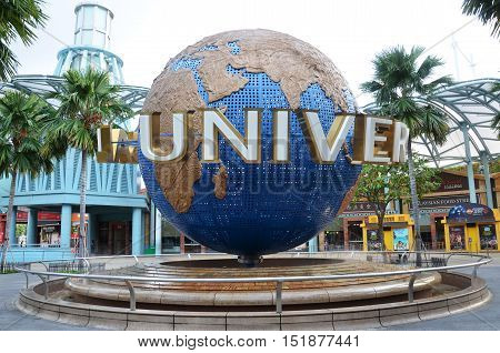 Rotating Globe Fountain In Universal Studios At Singapore