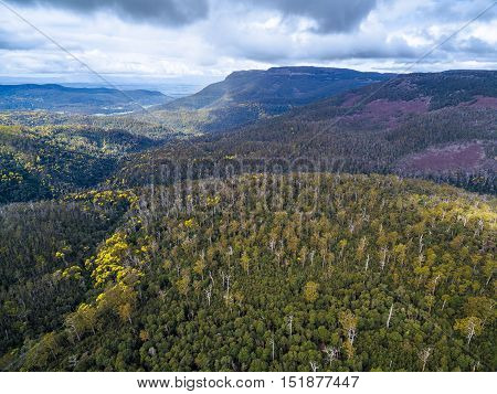 Aerial View Of Mountains And Forest Near Highland Lakes Road, Liffey, Tasmania