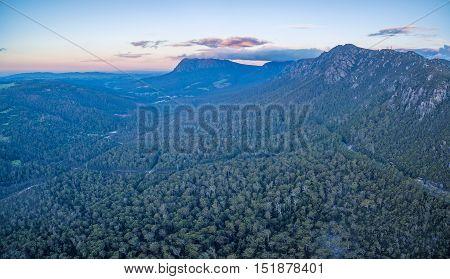 Mountanous Landscape At Sunset In Tasmania, Australia.