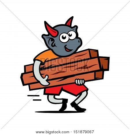 Devil with wooden planks. Isolated on a white Background