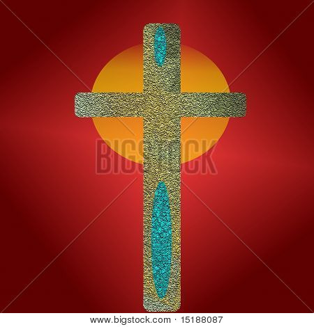 On red and yellow cross