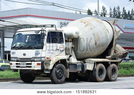 CHIANGMAI THAILAND - OCTOBER 6 2016: Concrete truck Nissan UD of Chiangmai Concrete product company. Photo at road no.121 about 8 km from downtown Chiangmai thailand.