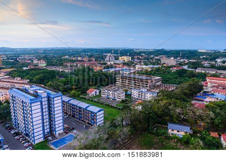Federal Territory of Labuan, Malaysia. Oct 15 2016 : Top view of residential of Labuan down town.