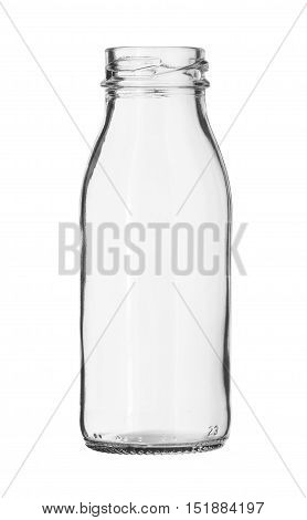 Glass Milk Bottle no Cap isolated on white background