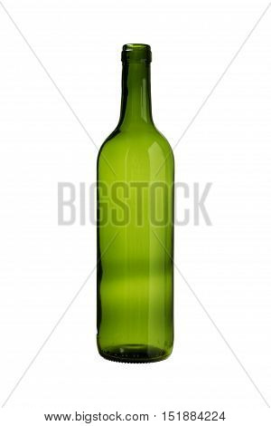 Green Wine Bottle isolated white background clipping paths
