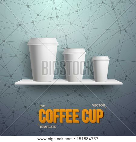Illustration of Realistic Vector Coffee Cup Takeout Template Set. White Paper Coffee Cup Mockup Set on Shelf