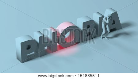 Man grabbing his head in fear 3d render near Phobia text sign illustration