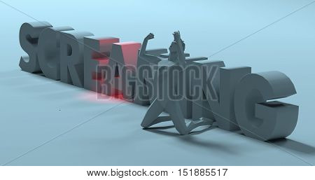 Frustrated yelling man raising hands near Screaming text sign 3d render illustration