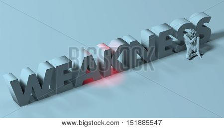 Flawed depressed man sitting near Weakness text sign 3d render illustration