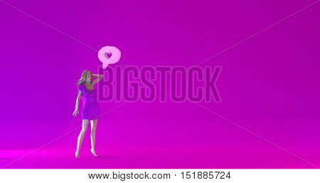 Low poly beautiful woman illustration dialogue cloud with a heart 3d render