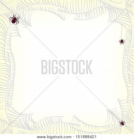 Spiderweb frame with spiders and place for text. Vector illustration.
