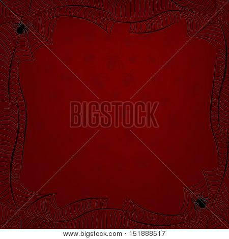 Spiderweb frame with spiders background in Halloween blood red colors. Vector illustration.