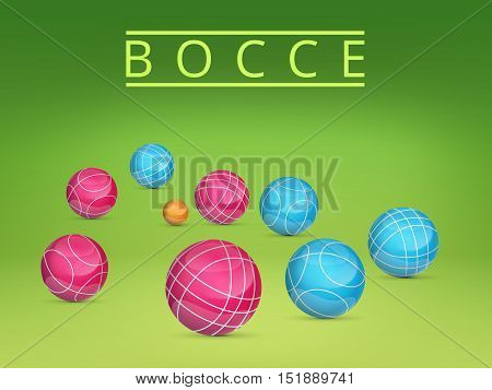 Set of colored balls scattered on a green background.