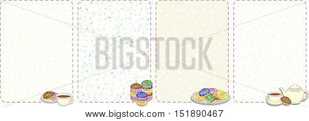 Set of cute background with culinary pictures. Cups, plates, donuts, teapot, chocolate chips. Can be used as recipe list or menu. Vector illustration.