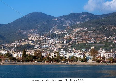 Coast of the Alanya in autumn. Alanya is a popular resort on the Mediterranean Sea.