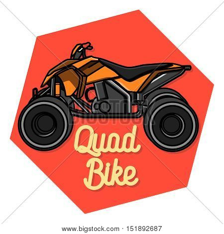Color vintage quad bike emblem. Logo design on a white background