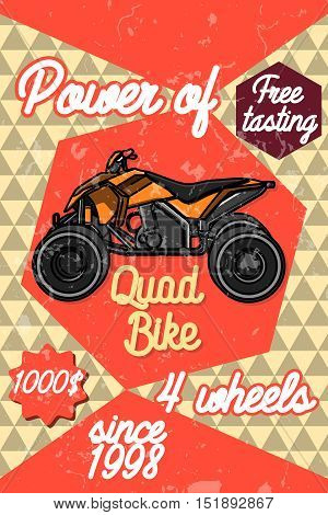 Color vintage quad bike poster. Logo design on a white background