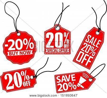 20% off red tag set vector illustration