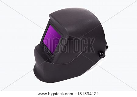 Mask for welding, welding equipment, mask isolated on white background, protective clothing, perform welding work