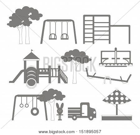 Icons set of different playground equipments. Vector illustration, EPS 10