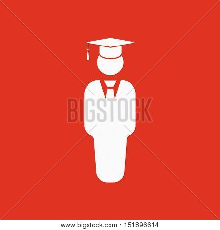 The student boy icon. School and academy, college, education symbol. Flat Vector illustration