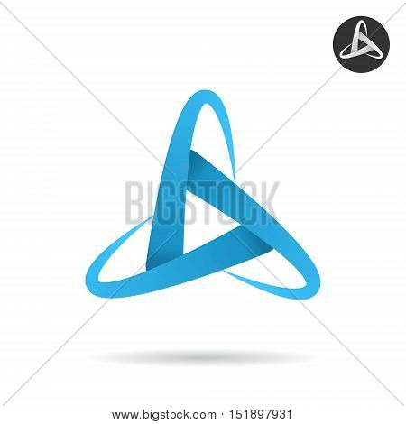 Orbits form letter d space concept illustration 2d vector icon isolated on white background eps 10