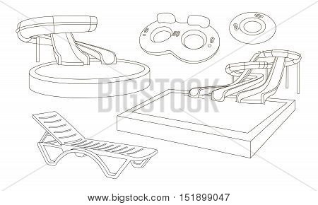 Water amusement park playground with slides and splash pads for family fun set abstract illustration. Vector illustration, EPS 10