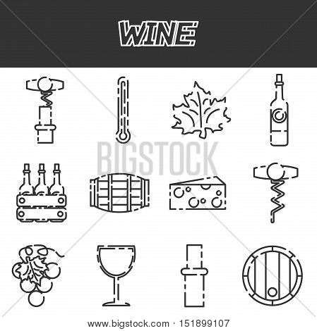 Set of colored flat design vector icons related to wine red wine glass, grapes, white white glass, barrel, wine bottle, mulled wine glass, corkscrew, cheese, thermometer. Isolated on white