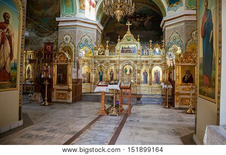 SAMARA RUSSIA - MAY 24 2015: Interior of the Nativity church. Church was founded in 1833