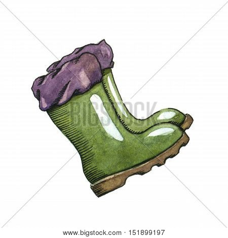 Rubber boots. Watercolor image on white background.