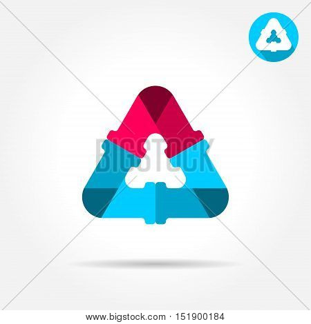 Delta letter sign water pipe connection concept 2d vector icon eps 10