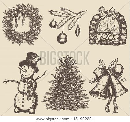 Hand drawn christmas set. Vector illustration EPS10
