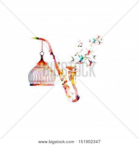 Music template vector illustration, colorful saxophone, creative music instrument background with music notes. Musical symbols for poster, brochure, banner, flyer, concert, music festival, music shop