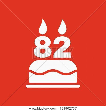 The birthday cake with candles in the form of number 82 icon. Birthday symbol. Flat Vector illustration